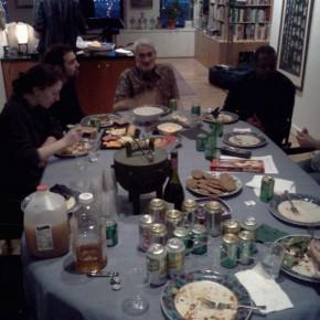 We break for dinner & gramps tells stories of early computing. #cucumbersandgin